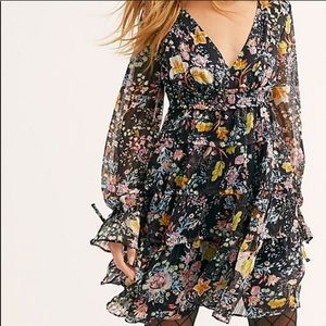 Free People Closer toHeart Black Floral Mini Dress